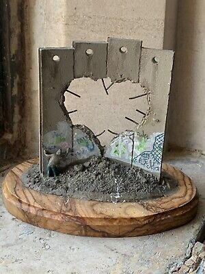 Banksy Walled Off Hotel Defeated Heart Sculpture on Olive Wood Base