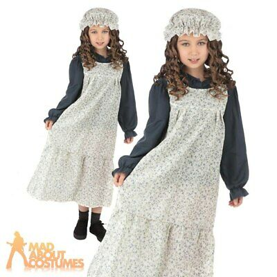 Kids Classic Victorian Girl Costume Maid World Book Day Child Fancy Dress Outfit