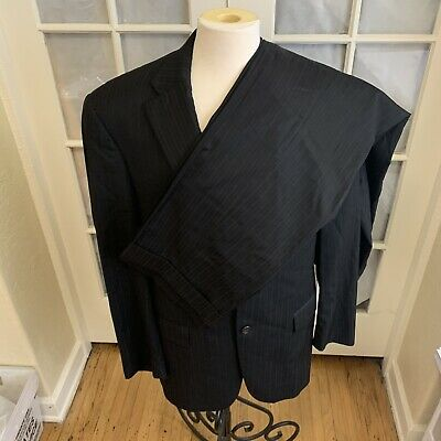 Hart Schaffner Marx Men's Size 44 L Black Micro Pinstriped Suit Made In USA