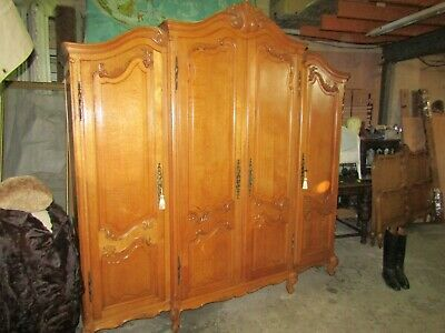 Big,Beautiful French Louis XV carved oak breakfront armoire ,wardrobe,Flat pack