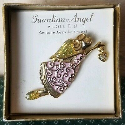 Girl Guardian Angel Carrying Heart Pin Brooch Genuine Austrian Crystal