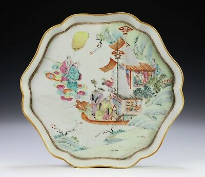 Antique Chinese Porcelain Lobed Tray with Scene of Figures
