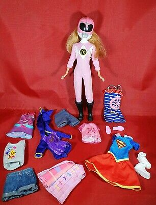 Barbie Stacie Pink Power Ranger Outfit  & Clothes Mattel doll Bundle.