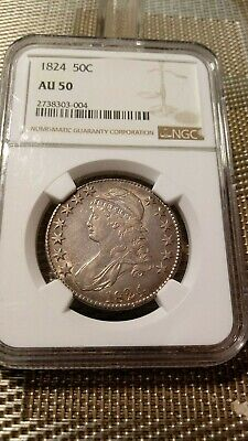 1824 Capped Bust Silver Half Dollar NGC AU 50 Multi-Color Nice Toning