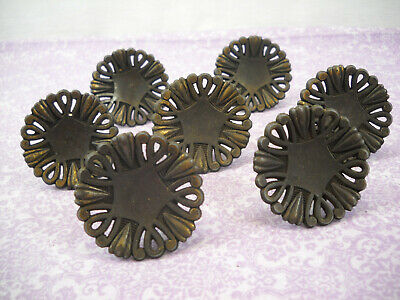 Vintage Set Of 7 Rustic Metal Round Decorative Drawer Pulls Knobs