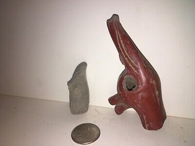 Maya Antique Earthenware 2 pcs Excavated  Mexico #Pre Columbian Mayan Heads