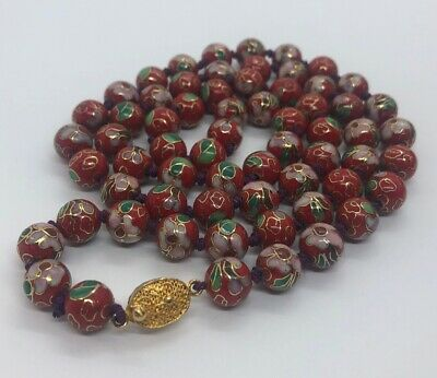 """Vintage Necklace Cloisonne Bead Chinese Red Enamel 32"""" Knotted 83 Grams"""