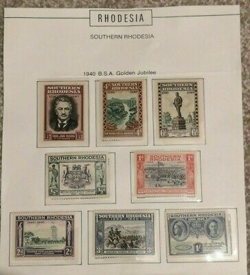 Southern Rhodesia 1940 BSAC Golden Jubilee Set 8 Stamps