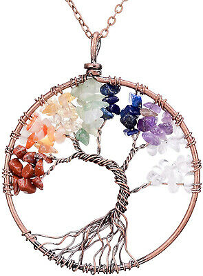 Tree of Life Pendant Wire Wrapped Wisdom Ancient Copper Chakra Necklace Women