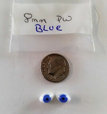 1 Pair Vintage 8mm Blue Paper Weight pinch Back Oval Glass Doll eyes French