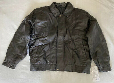 Men's Button Zip Front Leather Jacket Black New W/Tags XL Extra Large LJ43 1