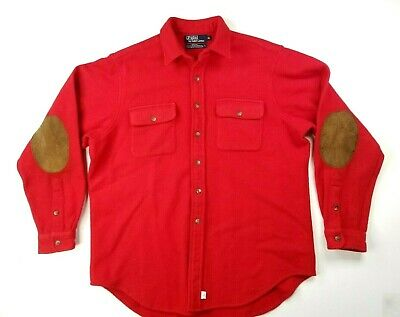 VTG Polo Ralph Lauren Mens Wool Button Up Shirt Size XL Red Black Elbow Patches