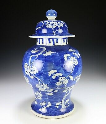 Large Antique Chinese Blue and White Porcelain Covered Jar with Prunus