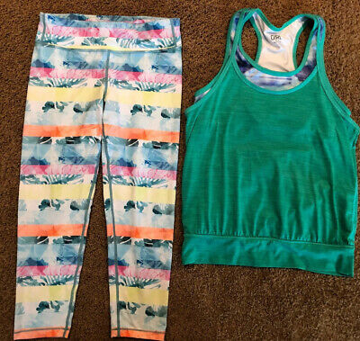 Lot Of 2 Youth Girls Athleta Girl Leggings And Razorback Tank Top Size 14