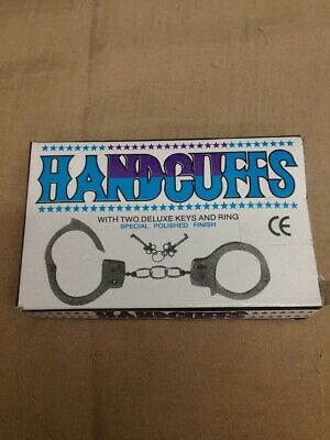 New Nickle Plated Double Lock Police Hand Cuffs W/ Keys