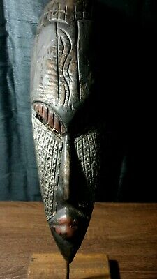 Mask African Carved Wood Tribal Wall Hand Vintage Art Wooden Face Decor 1215