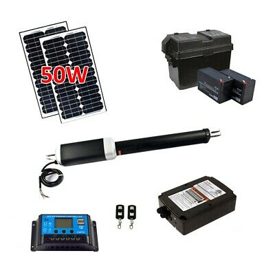 ALEKO Black ETL Solar Kit Gate Opener For Up To 650Lb and 10Ft Single Swing Gate