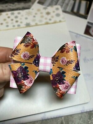 Pink Gingham Mustard Floral School Bow Headband Baby Girl Kids Hair Clip Grip