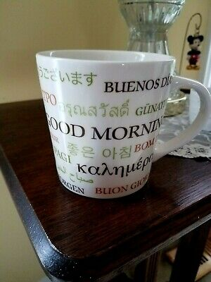 2007 Starbucks Coffee Mug Cup Good Morning Different Languages 16 flOz