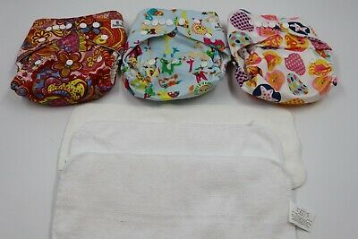 Kerr Bear Kids Baby Girl Cloth Reusable Adjustable Diapers & Liners Lot 3