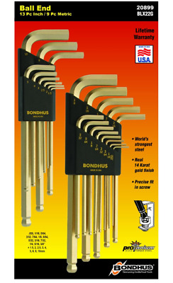 Ball End Driver Allen Wrench Set L-Shape Hex Key Protanium Steel Gold Wrenches