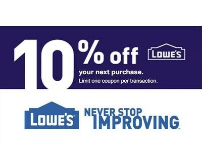 (1x) ONE Lowe's 10% OFFCoupon - IN-STORE ONLY Email Delivery