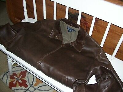 Ralph Lauren mens lambskin leather jacket size l or Large brown