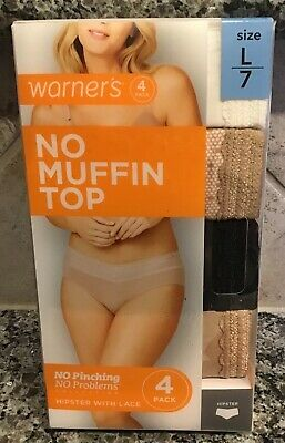 """WARNER'S Panties """" The Lace Hipster"""" 4 Pack  No Pinching-Sz. 7-Large New In box"""
