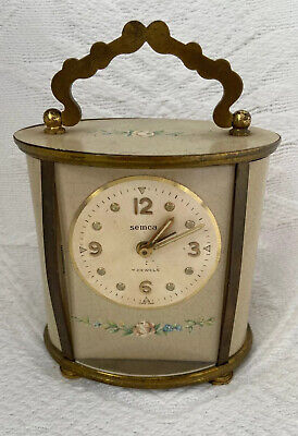 Vintage SEMCA 7 JEWELS Brass Floral Tin Lithograph Carriage CLOCK Swiss Made