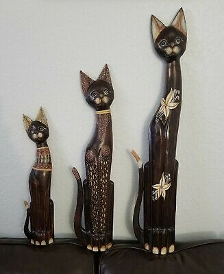 Vintage Lot of (3) Hand Carved Wooden Cat Plaques.
