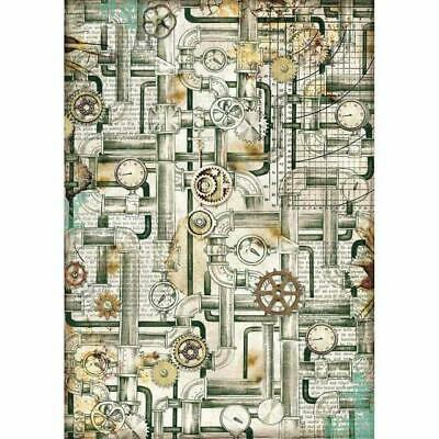 Rice Paper - Decoupage - Stamperia - 1 x A4 Size Sheet - Industrial Pipes