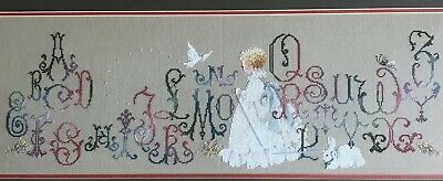 Charming Hand Stitched Needlepoint Little Girl With Bunny And Dove/ Alphabet