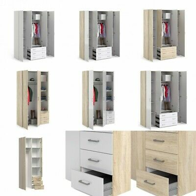Space Double Triple 4 Door Wardrobes with Drawers in High Gloss White and Oak