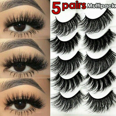 5 Pair 3D Multipack Mink False Eyelashes Wispy Fluffy Long Natural Eye Lashes UK