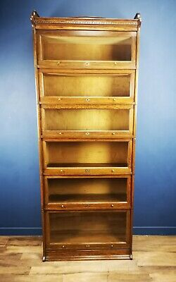 Tall Antique Oak Globe Wernicke Style Barristers Bookcase Circa 1900 By Lebus