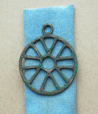 "Ancient Viking Bronze Large pendant AMULET ""SUN"" GREAT SAVE VERY RARE FORM"