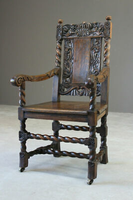 Antique Rustic Single Victorian Carved Oak Open Arm Chair Carver Hall