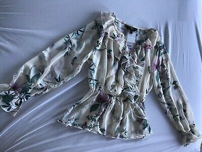 lipsy, lotus frill blouse, size uk 8, cream with lavender and green
