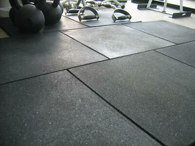 Rubber Fitness Flooring Tiles For Gym 20mm Thick Black