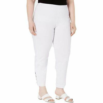 JM Collection Womens Plus Size Ankle-Laced Pull-On Pants, 16W, White
