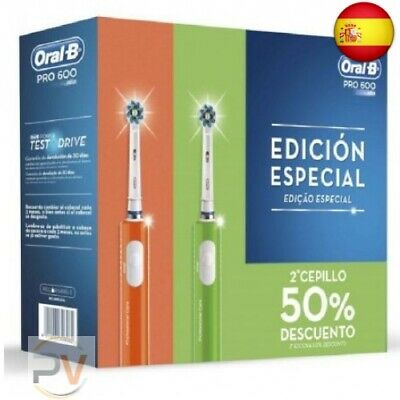 Pack 2 Cepillos Dentales Braun Oral-B Cross-Action Pro600 - Verde + Morado -