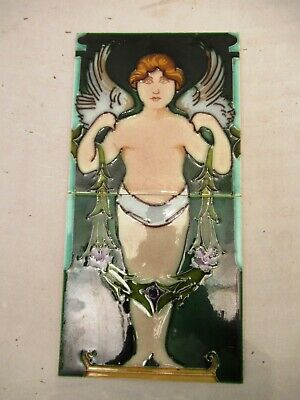Cherub Tile Porcelain Angel Ceramic Green Color Decorative 2 Pieces Pair Vintage