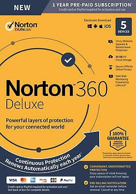 Norton Internet Security Deluxe 2019 2020 5 PC USER DEVICE Box