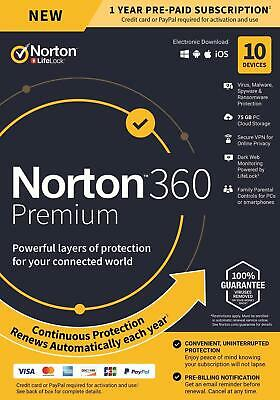 Norton Internet Security Deluxe 2020 10 PC USER DEVICE Box