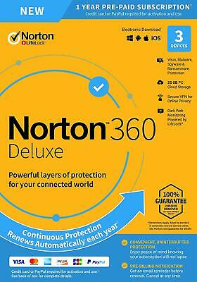 Norton 360 Deluxe 2020 3-Devices + 25GB Of Secure PC Cloud Storage PC/MAC/Mobile