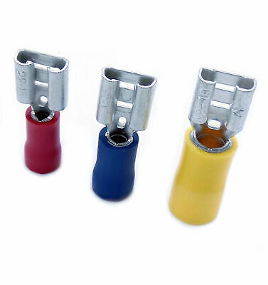 Insulated Push On Female Spade Crimp Terminals Red Blue & Yellow