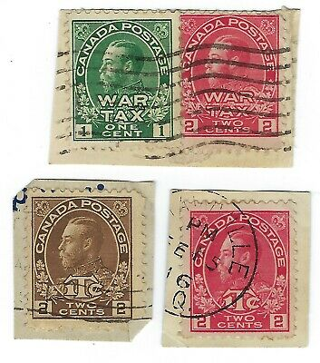 1915-1916 Canada Used War Tax Stamps One Cent & Two Cents Scott Mr1-Mr4