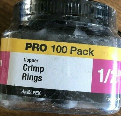 "(100) 3/4"" PEX Copper Crimp Rings,  Anodized Copper"