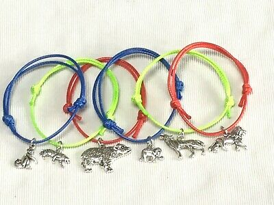 6 TEDDY BEAR FRIENDSHIP BRACELETS WITH FLOWERS PARTY BAG FILLERS Tombola Prizes