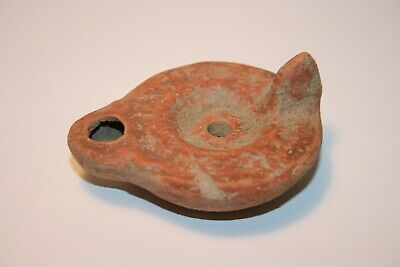 Authentic intact Roman terracotta oil lamp : 1st - 4th Century A.D.